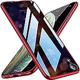 iPhone XR ケース クリア ガラス背面 シェル 強化ガラス TPUバンパー 透明 耐衝撃 メッキ加工 スリム 薄型 ストラップホール 6.1インチ アイフォンXRカバー レッド