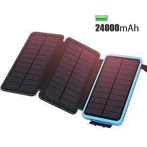 ADDTOP Cargador Solar 24000mAh Cargador portátil Impermeable Power Bank con...