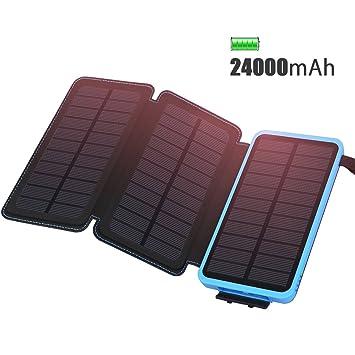 ADDTOP Cargador Solar 24000mAh Cargador portátil Impermeable Power Bank con 3 Paneles solares Li-Polímero Batería Externa 2 USB para Smartphone Tablet ...