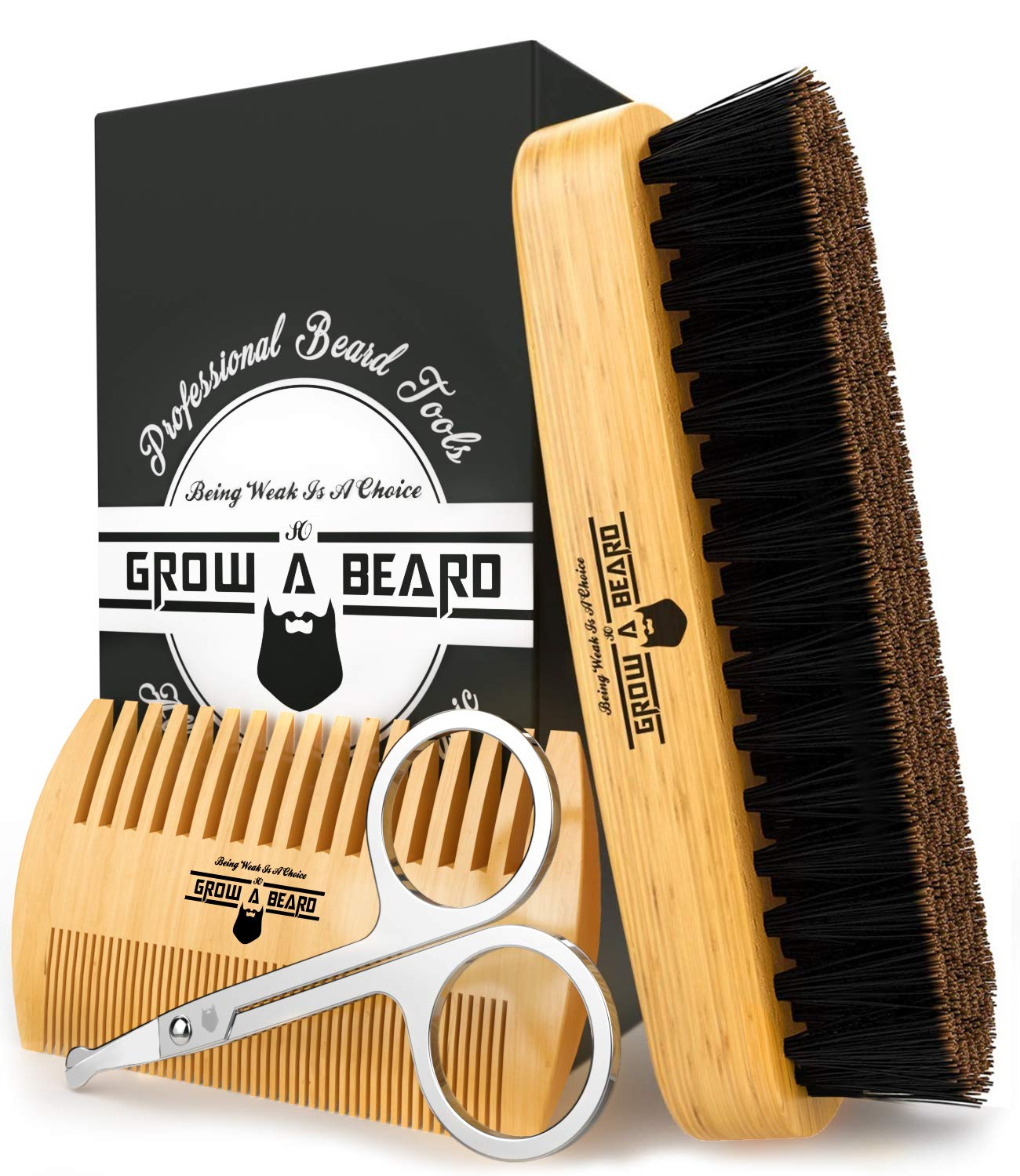 Beard Brush & Comb Grooming Kit for Men's Care, To Distribute Balm or Oil for Growth & Styling, Adds Shine & Softness