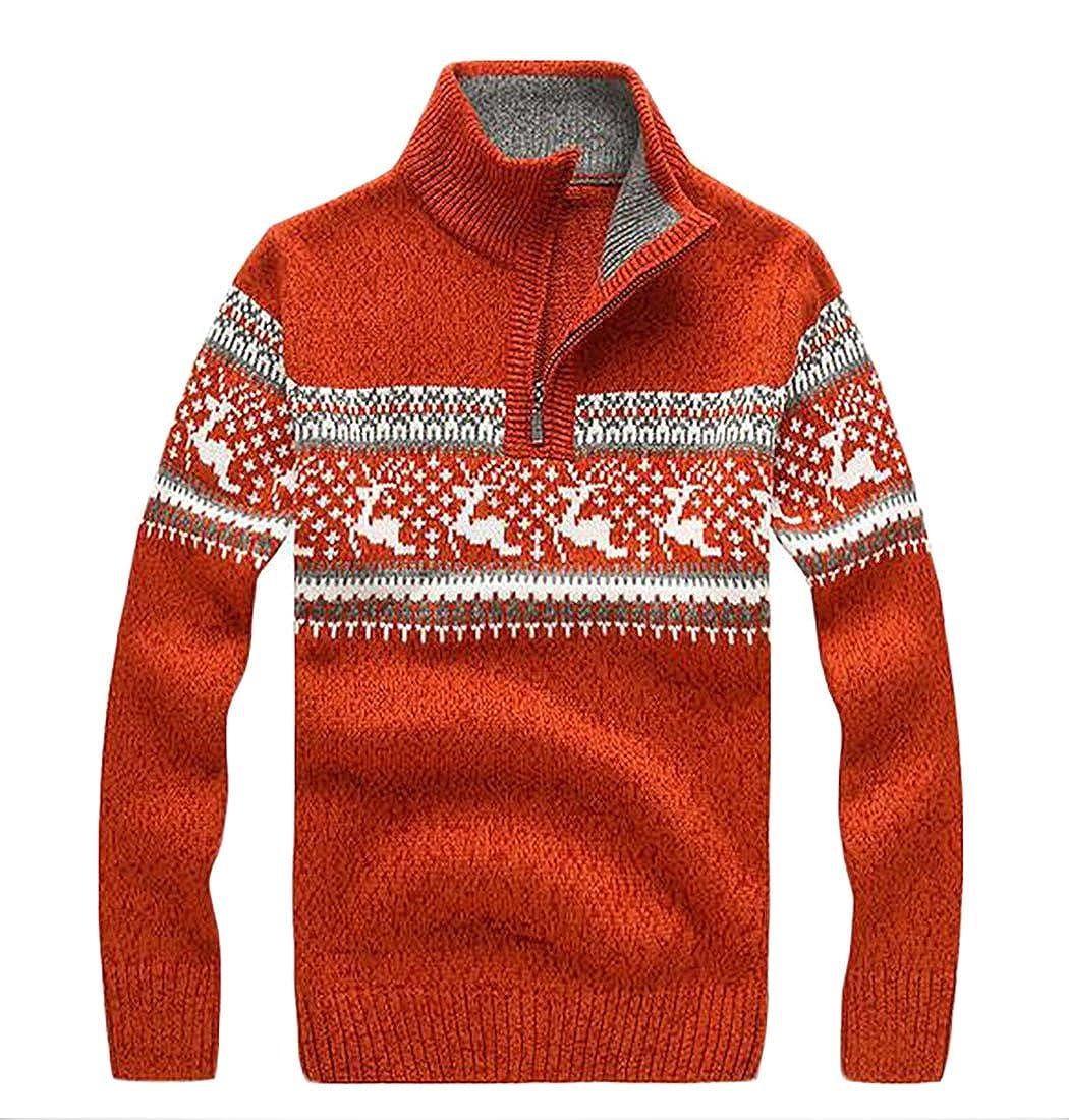 Hokny TD Mens Autumn Warm Stand Collar Half Zipper Pullover Sweaters