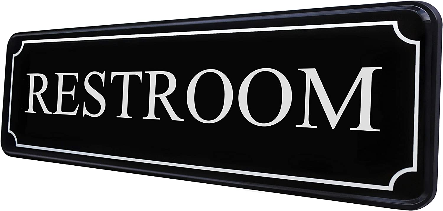 Restroom Sign for Office Door Wall – Bathroom Signs for Home and Business - Water Closet Sign Black White Sticker 9×3 in - Easy Installation Without Any Tools - Quality Guaranteed by MolnijaPro