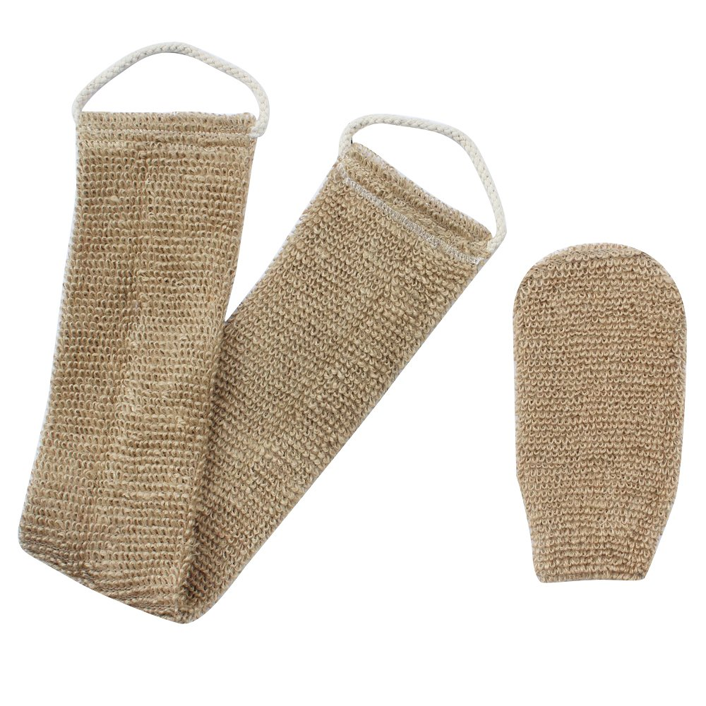 Homgaty Hemp Back Scrubber Body Washer Brush Scrubber Natural Exfoliating With Mitt