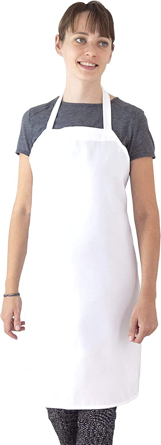 2 Pack Elaine Karen Bib Apron for Men And women - Adjustable Extra Long Ties, Great for Chefs Cooking Kitchen, Home and Gardening, Machine Washable - White