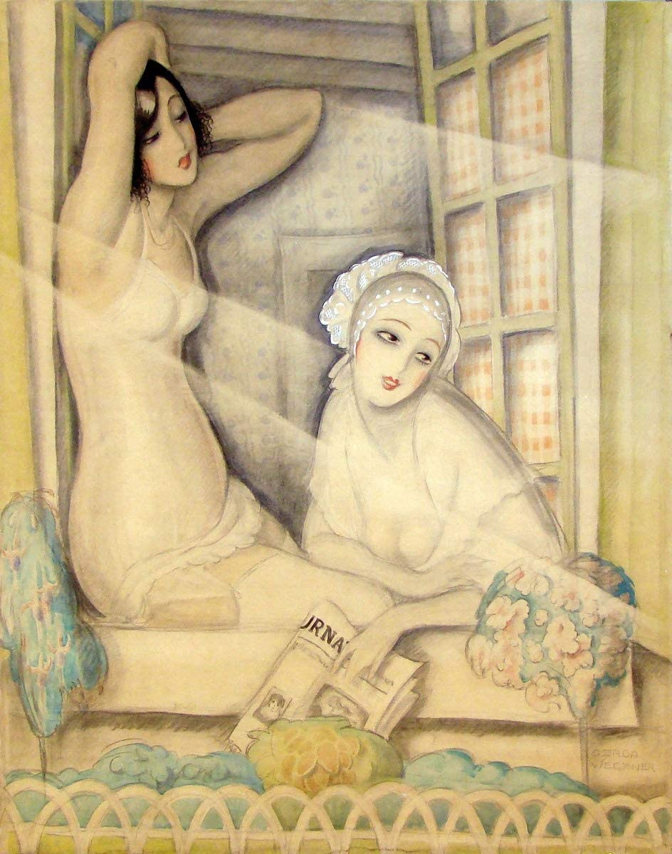 Berkin Arts Gerda Wegener Giclee Print On Paper-Famous Paintings Fine Art Poster-Reproduction Wall Decor(Ok Two Women in A Window X) #XZZ