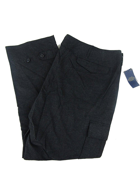 Polo Ralph Lauren Men's Big & Tall Flannel Cargo Pants (50B X 30, Onyx Heath)