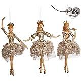 Christmas @ Thumpers Flower Princess Faries & angeli con piuma vestito decorazione set di 3–(TR28150)