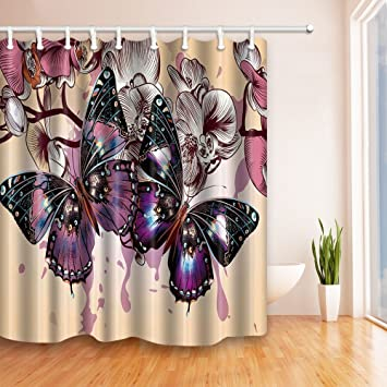 Amazon.com: NYMB Purple butterflies and flowers in beige 69X70 ...