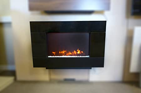 Be Modern Corvo Wall Mounted Electric Fire In Black Granite Fascia