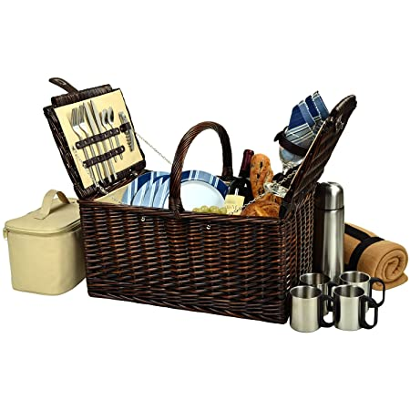 Picnic at Ascot Buckingham Willow Picnic Basket with Service for 4 with Blanket and Coffee Service – Blue Stripe