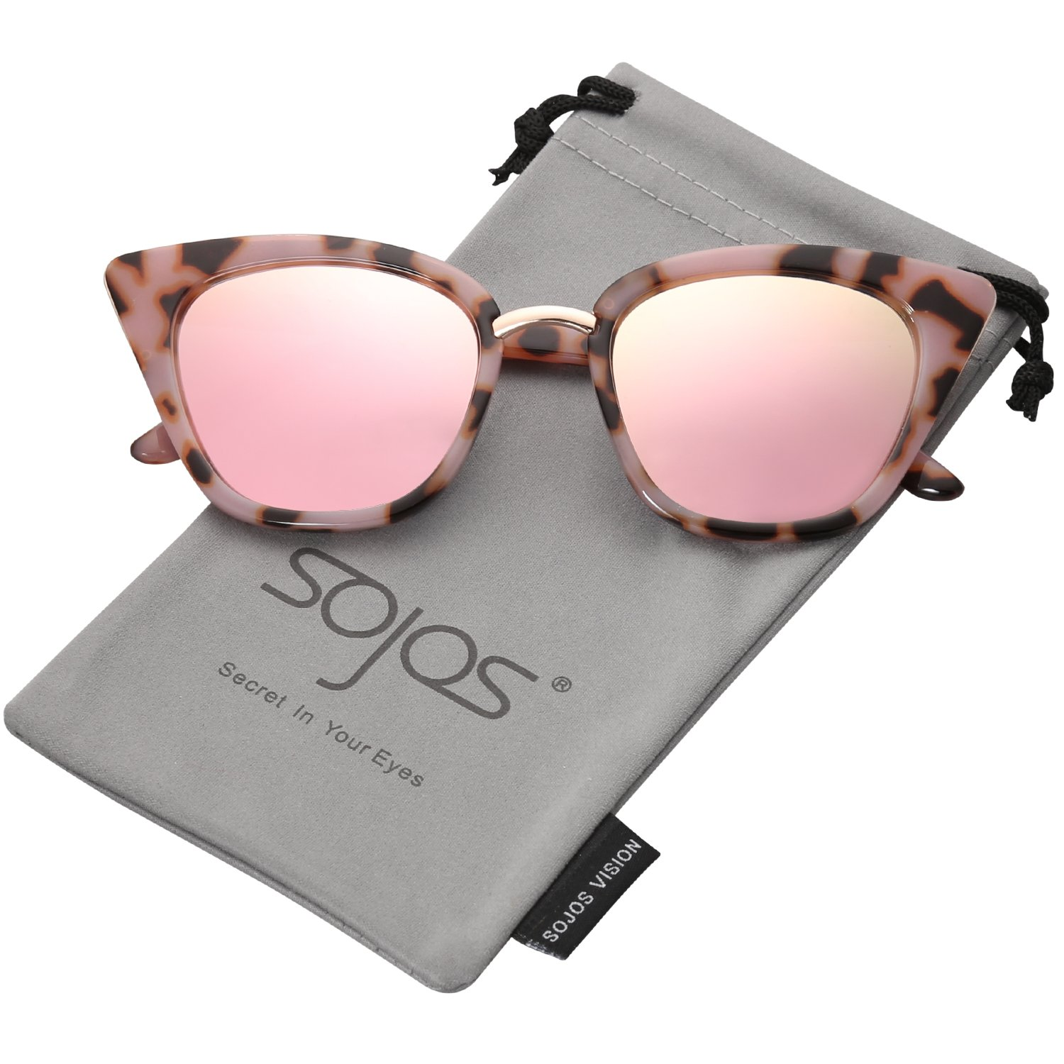 SojoS Cat Eye Brand Designer Sunglasses Fashion UV400 Protection Glasses SJ2052 with Pink Tortoise Frame/Pink Mirrored Lens