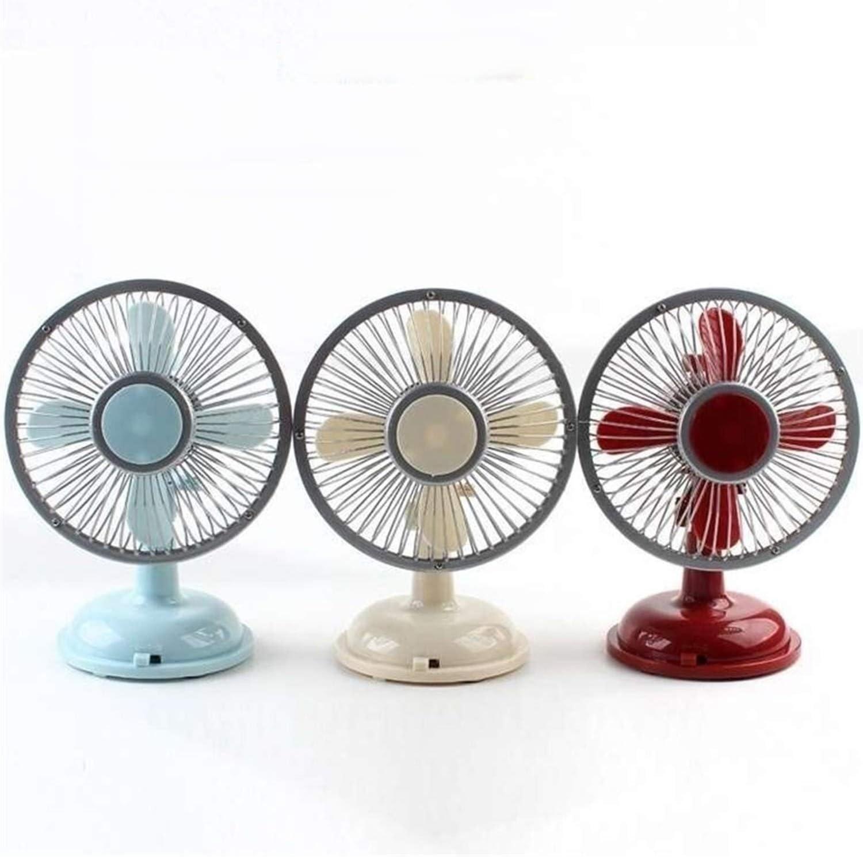 Color : Red Air Cooler USB Desktop Small Fan 2 Gear Silent Desktop Retro Style Automatic Shaking Head Rechargeable Fan