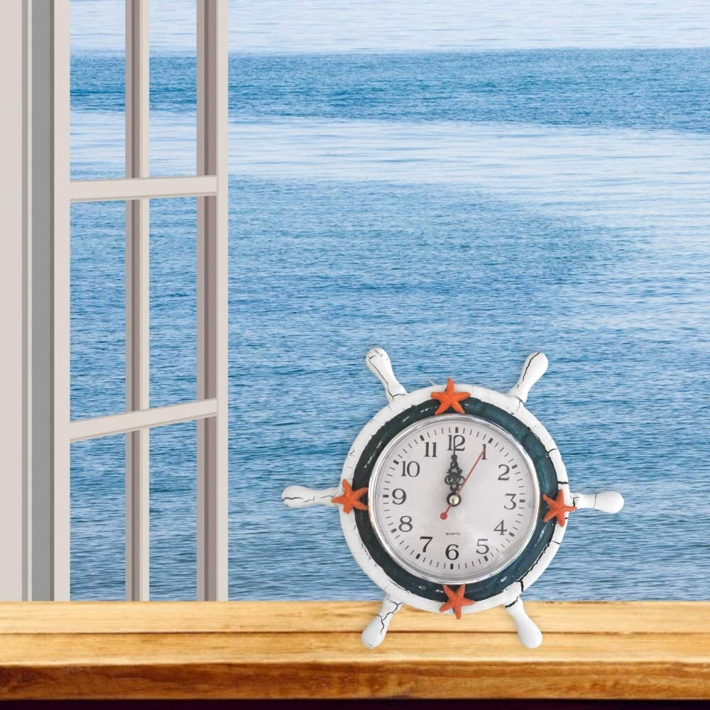 BANBERRY DESIGNS Nautical Clocks Sits with Easel 9 Inch Blue and White Clock with Starfish Sailboat Steering Wheel Helm Decoration