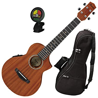 Ibanez UEWT5E Cutaway Style Mahogany Open Pore Natural Tenor Ukulele with Built In UK300T Pickup
