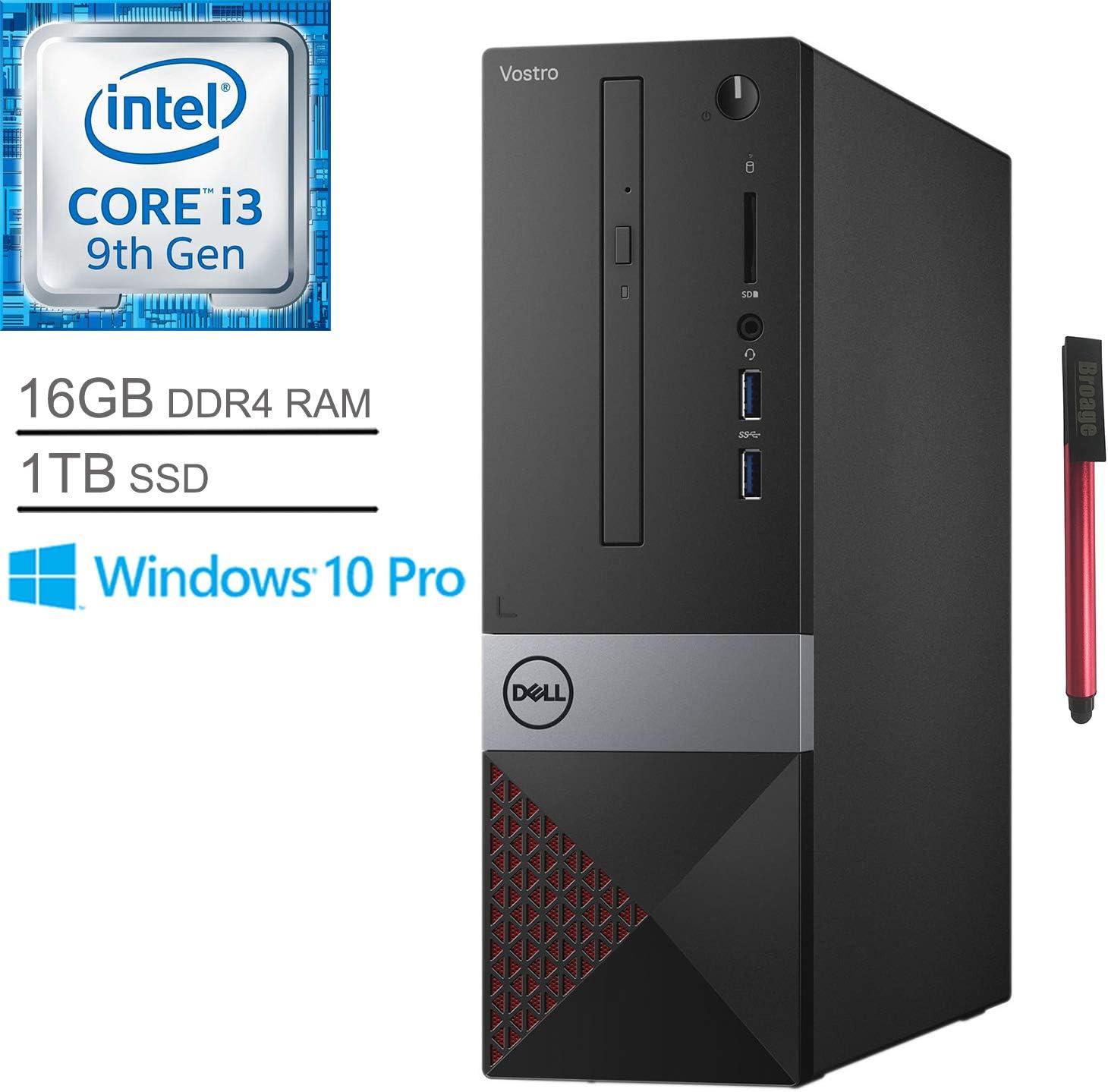 Dell Vostro 3471 Business Small Desktop Computer, Intel Quad-Core i3 9100 Up to 4.2GHz (Beats i5-7400), 16GB DDR4 RAM, 1TB SSD, DVDRW, WiFi, Bluetooth, HDMI, Windows 10 Pro, BROAGE 64GB Flash Stylus