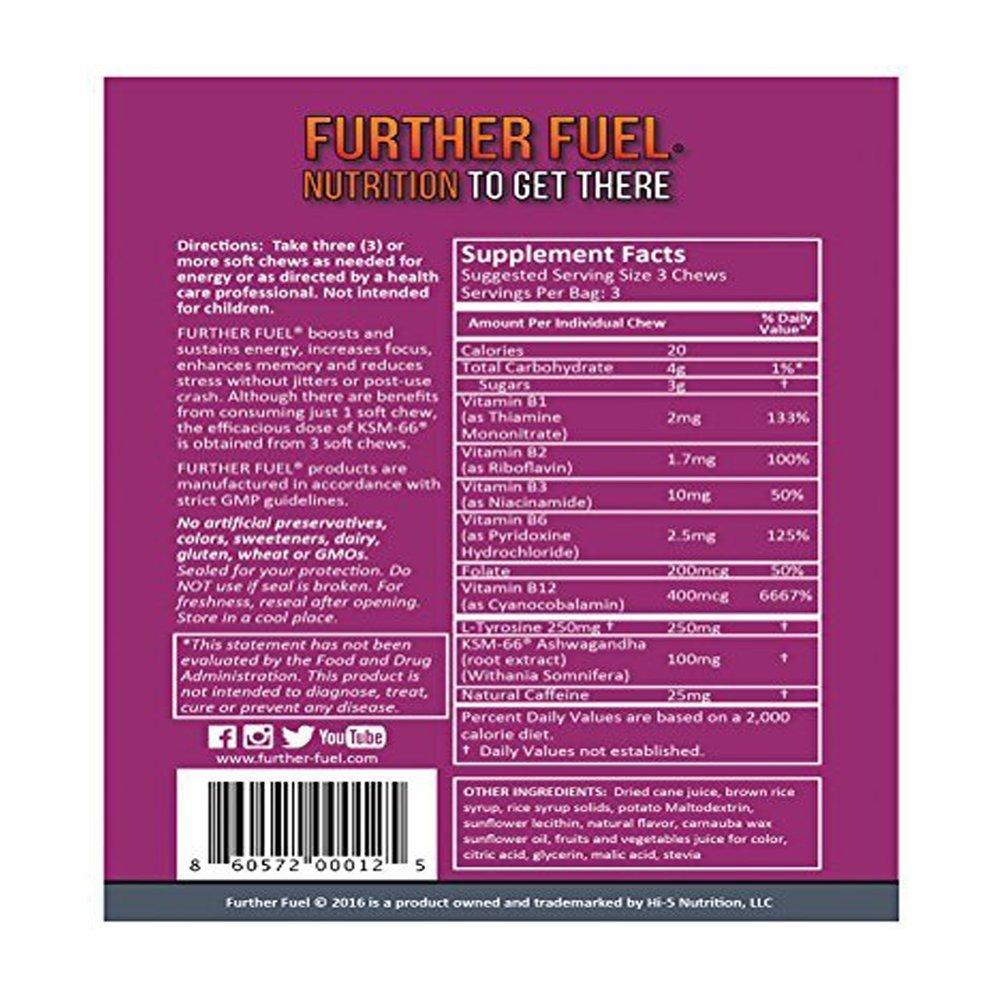 FURTHER FUEL - Energy Booster + Caffeine Soft Chews, KSM-66 Ashwagandha, B12 and L-Tyrosine -...