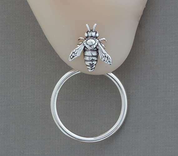 768336c45 Amazon.com: Sterling silver bumblebee stud honey bumble bee earrings hoop  front back double sided ear jackets insect jewelry: Handmade
