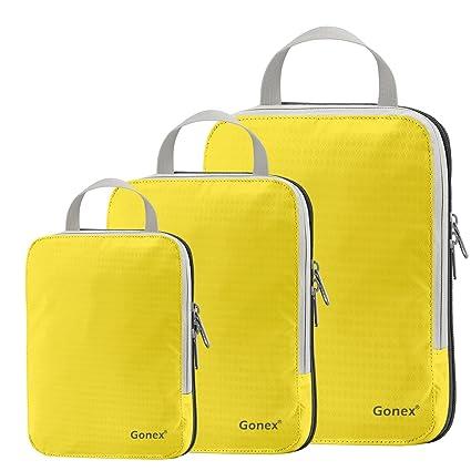 Gonex - 3 Packs Organizador Maleta Bolsas Portátiles para Ropa Bolsas Extensibles e Impermeables Organizador de Almacenaje del Tres-tamaño ya Prueba ...