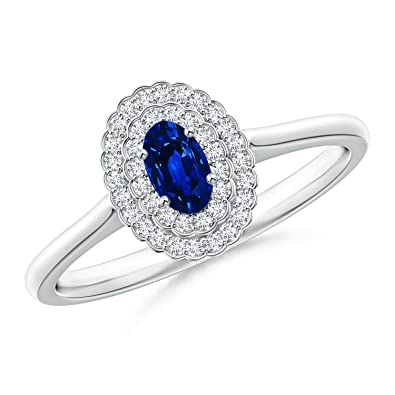 Angara Scallop-Edged Diamond Double Halo Sapphire Vintage Ring cztjel
