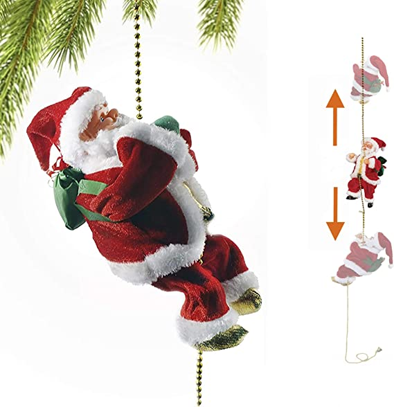Christmas Super Climbing Santa Plush Doll Toy Hanging Ornament Tree Xmas Gifts for Kids Christmas Door Hanging Decorations Vansonly Electric Climbing Ladder Santa Claus with Music Red