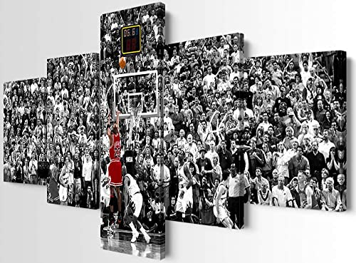 YOUHONG 5 Panels Mi-Chael Jordan Canvas Wall Art Modern The Greatest Basketball Players HD Print Stretched and Framed Artwork Best Basketball Fans Gifts Ready to Hang