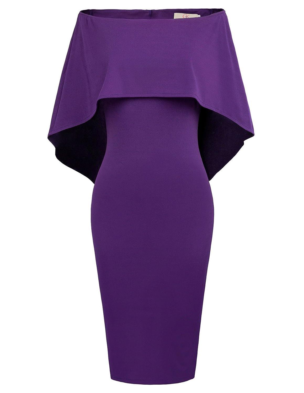 Purple GRACE KARIN Women Off Shoulder Batwing Cape Midi Dress