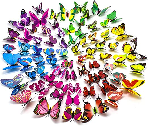 120 WALL BUTTERFLY STICKERS mixed kids BEDROOM self adhesive decor vinyl