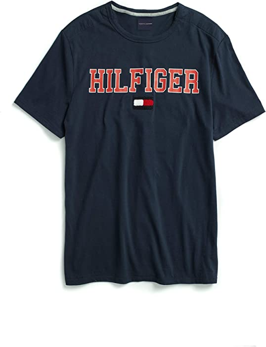 92c8bea4 Tommy Hilfiger Men's Adaptive T Shirt with Magnetic Buttons at Shoulders, Navy  Blazer Small