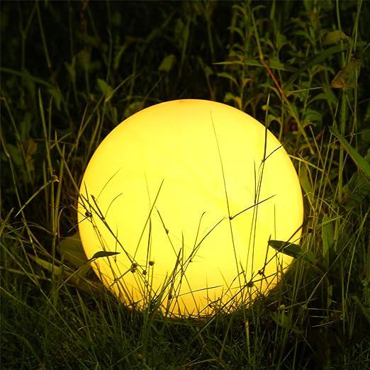 Albrillo Luz Solar de Jardín con 12 Colores Ajustables, LED Exterior Solar de Globo (Diámetro: 20cm), con Control Remoto, Carga por USB, IP68 Impermeable, para Decoración de Patio, Césped, Piscina: Amazon.es: Iluminación