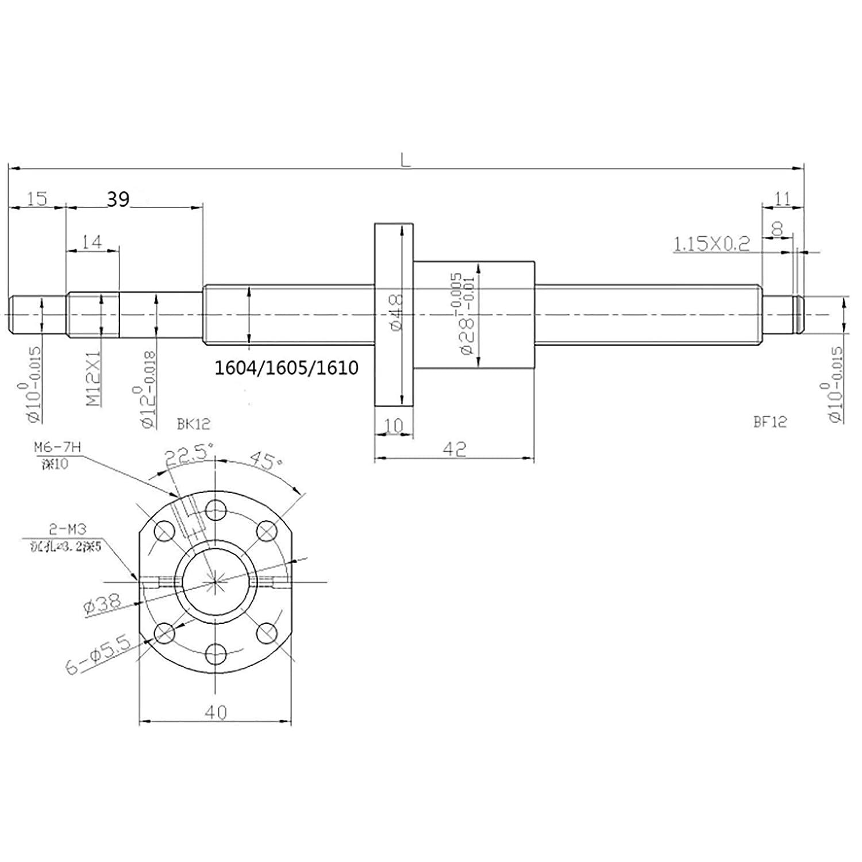 LianDu Ball Screw SFU1605 L600MM Ballscrew End Machined with Single Ballnut for CNC Machine