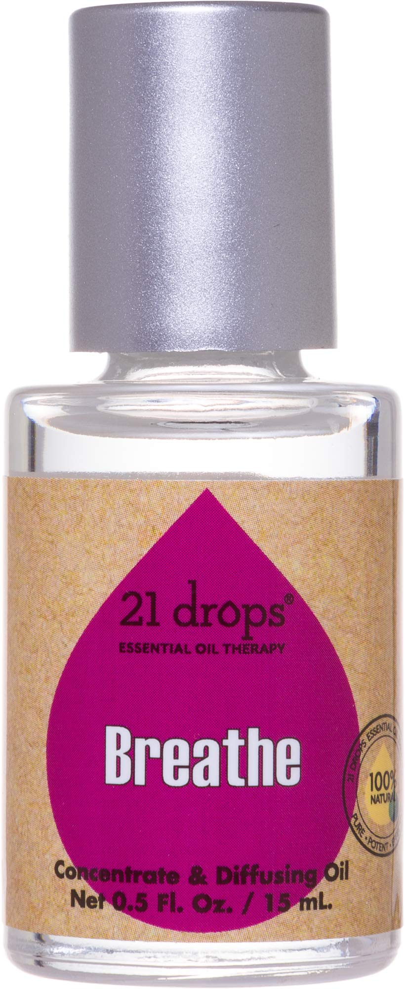 21 drops 15mL Breathe Essential Oil Aromatherapy Concentrate - Natural, Certified Organic, Pure Therapeutic Quality 1st Press Diffusing Oil Blend for Congestion by 21 drops