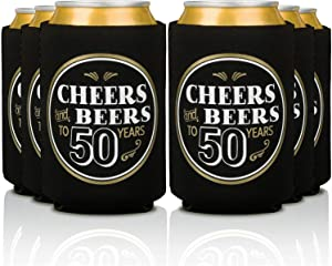 Prazoli Cheers and Beers to 50 Years Birthday Can Coolers - 50th Birthday Decorations for Men | Black & Gold Beer Party Coolers for Parties Perfect Neoprene Drink Sleeves Set (12 Pack)