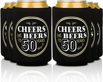 50th Wedding Anniversary Koozies Can Coolers cheers to 50 years party favors