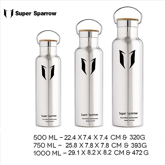 Super Sparrow - Cantimplora de acero inoxidable Botella de agua 500 ml & 750 ml & 1000 ml - Termo con 100% garantía de satisfacción | perfecta termo para ...