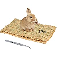 Tfwadmx Large Rabbit Grass Mat Natural Straw Woven Bunny Bed Small Animal Cage Hay Mat Sleeping Play Chew Toys for…
