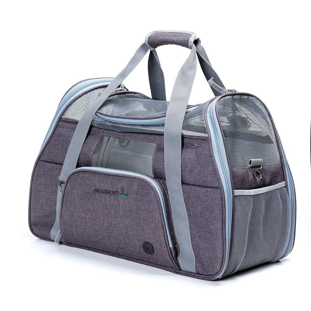 Brown 512335cmRedGoodThings Zippered Portable Shoulder Bag Oxford Cloth Foldable Pet Tote Dog Backpack (color   Light Pink, Size   51  23  35cm)