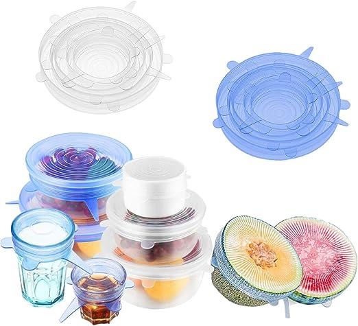Tapas elásticas de silicona para alimentos, reutilizables para ...