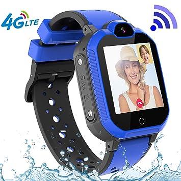 PTHTECHUS 4G GPS Niños Smartwatch Phone, niños y niña Teléfono Reloj Inteligente con SOS 2 vías Chat de Voz y Video Alarma Podómetro WiFi Cámara ...