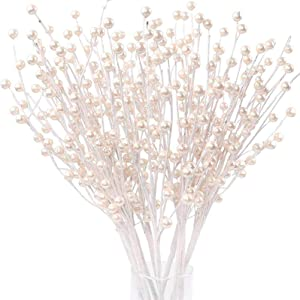 CEWOR 12 PCS Creamy White Pearl Berry Stems Artificial Berry Twigs for Floral Arrangements Holiday and Home Decor