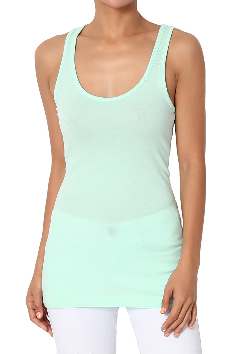 ab7863bfacda5 Amazon.com  TheMogan Women s Basic Scoop Neck Stretch Cotton Tank Top  Sleeveless Casual Tee  Clothing