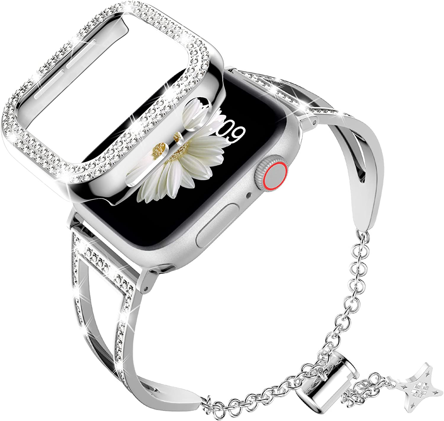 DABAOZA Compatible for Apple Watch Bling Band 38mm 42mm with Case, Women Girl Dressy Bling Diamond Metal Stainless Steel Bracelet Bangle Strap with Bumper for iWatch Series 3/2/1