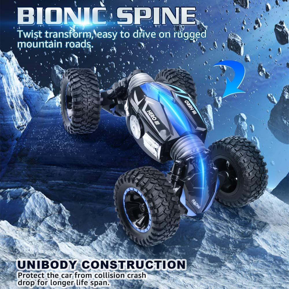 NQD RC Car Off-Road Vehicles Rock Crawler 2.4Ghz Remote Control Car Monster Truck 4WD Dual Motors Electric Racing Car, Kids Toys RTR Rechargeable Buggy Hobby Car (Blue) by NQD (Image #2)