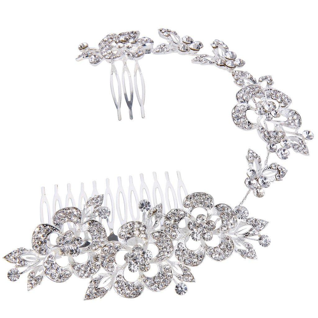 Clearine Femme Autrichien Cristal Fleur Feuille Mariage Adjustable Cheveux Comb Claire 12000555