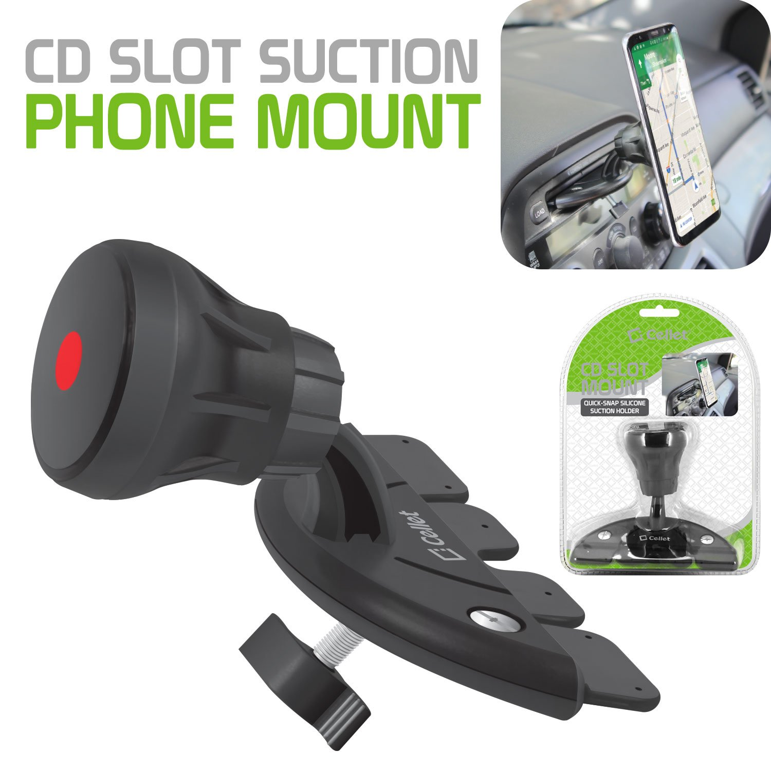 Cellet CD Slot Phone Mount Extra Strength Suction Cup with Quick-Snap Technology PHCD23CN Holder for Apple iPhone XS//Max//XR//X//8//Plus//7//Plus Samsung Note 9//8//5 Galaxy 9S//Plus//S8//Plus /& LG Motorola HTC Asus