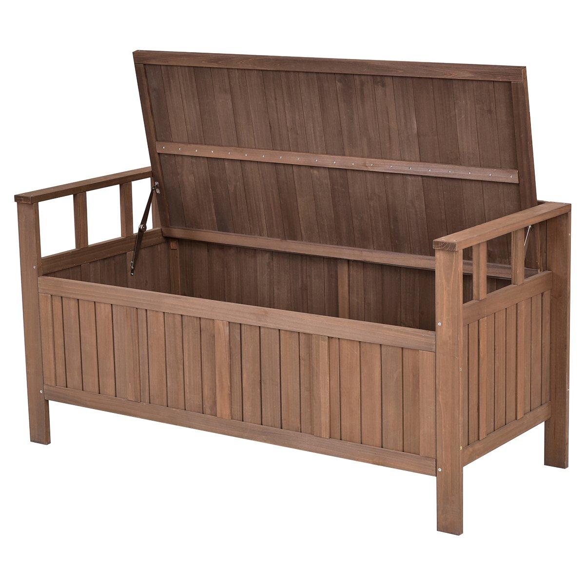 Giantex 70 Gallon Storage Bench All Weather Outdoor Patio Storage Garden Bench Deck Box