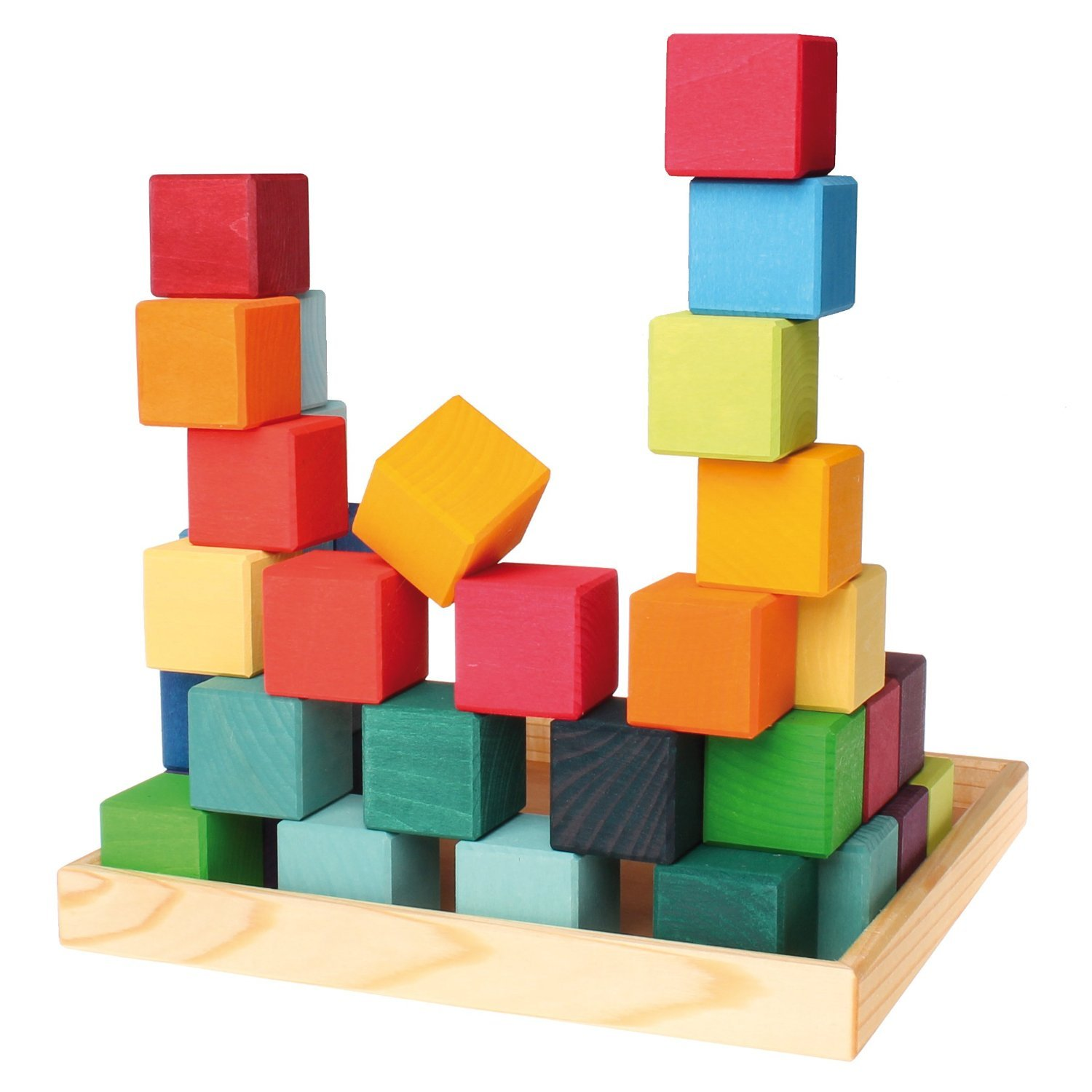 Grimm's Mosaic Square of 36 Wooden Cube Blocks with Storage Tray, 4x4 Size by Grimm's Spiel and Holz Design