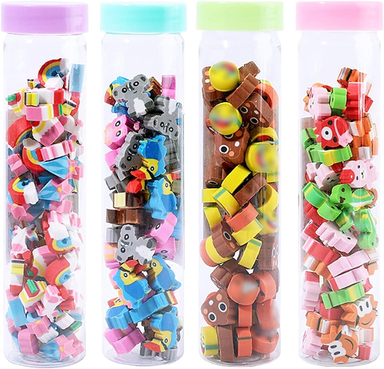 Dreamm 240 Pieces Mini Erasers Bulk Assortment in Cylinders Animal Food Emoticon Mini Pencil Erasers for Children Party Favors School Student Prizes for Kids