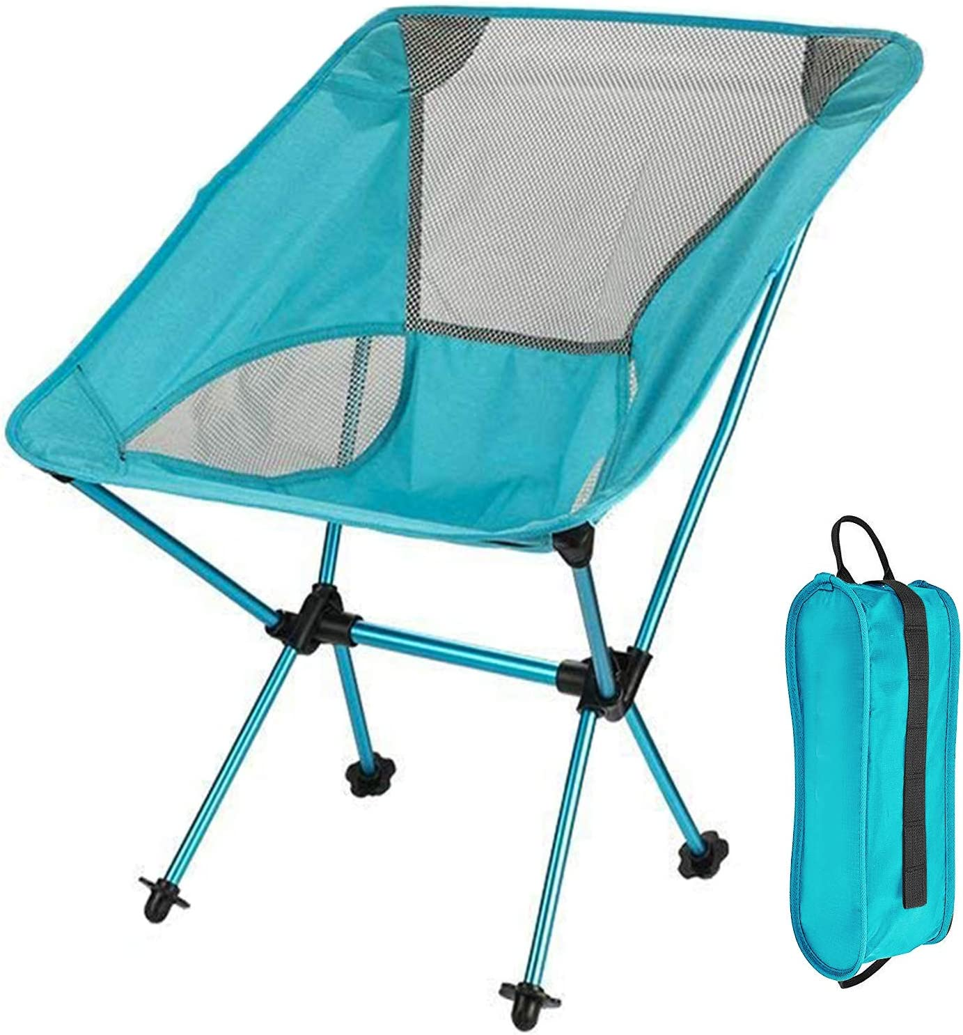 Folding Camping Chair – Portable Lightweight Camp Chair with Belt and Carry Bag, Backpacking Chair, Compact and Heavy Duty 330 lbs Capacity Perfect for Outdoor, Hiking, Camping, Fishing Sky Blue