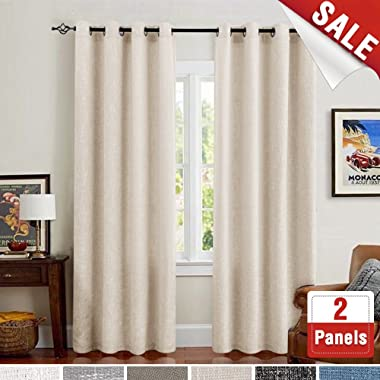 Linen Curtains for Bedroom Drapes for Living Room Burlap Flax Ivory 84 inch Curtain Set of 2 Panels