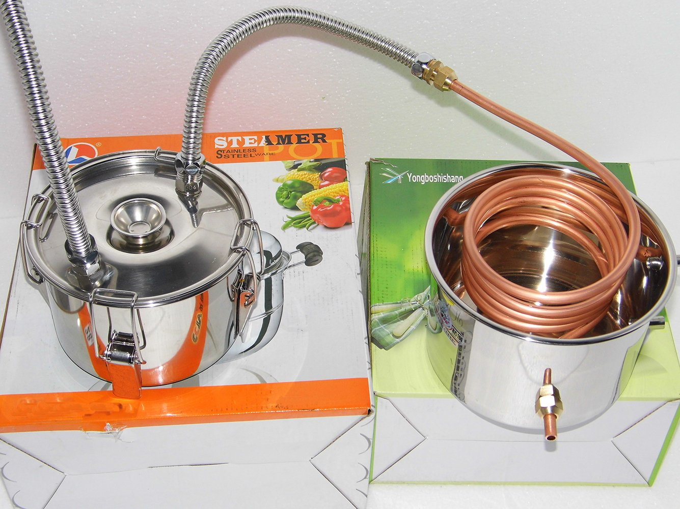 OLizee 5 Gal Stainless Steel Water Alcohol Distiller Copper Tube 18L Moonshine Still Spirits Boiler Home Brewing Kit with Thumper Keg by OLizee (Image #5)